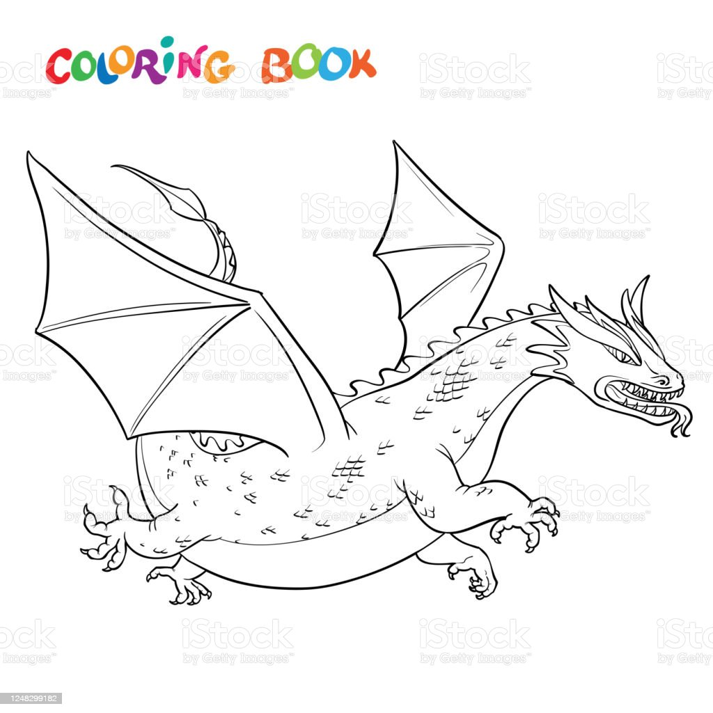 Cartoon Vector Outline Illustration Medieval Dragon Coloring Book Or Page  Stock Illustration - Download Image Now - IStock