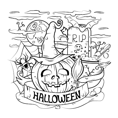 Cartoon vector outline illustration of a happy Halloween. Linear art, detailed. All objects are separated. Vector. Coloring book, background.