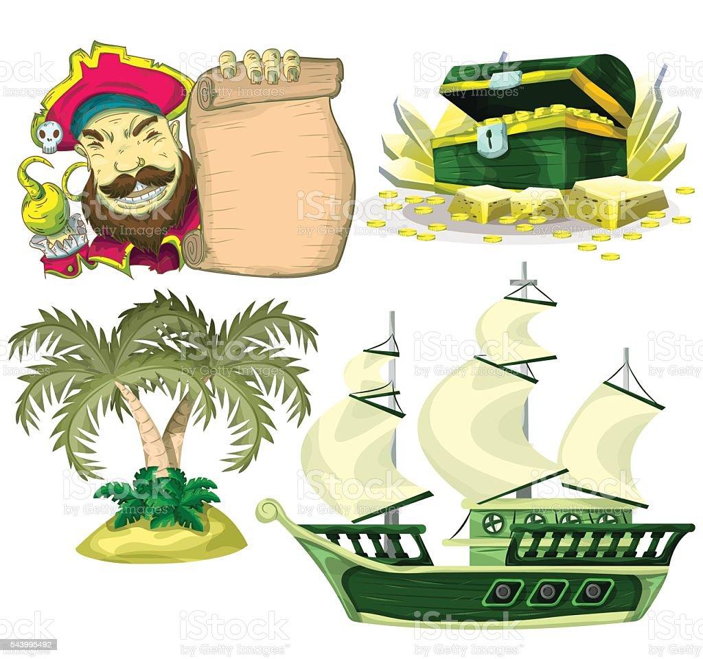 カットイラストベクター海賊オブジェクトにゲームアニメ