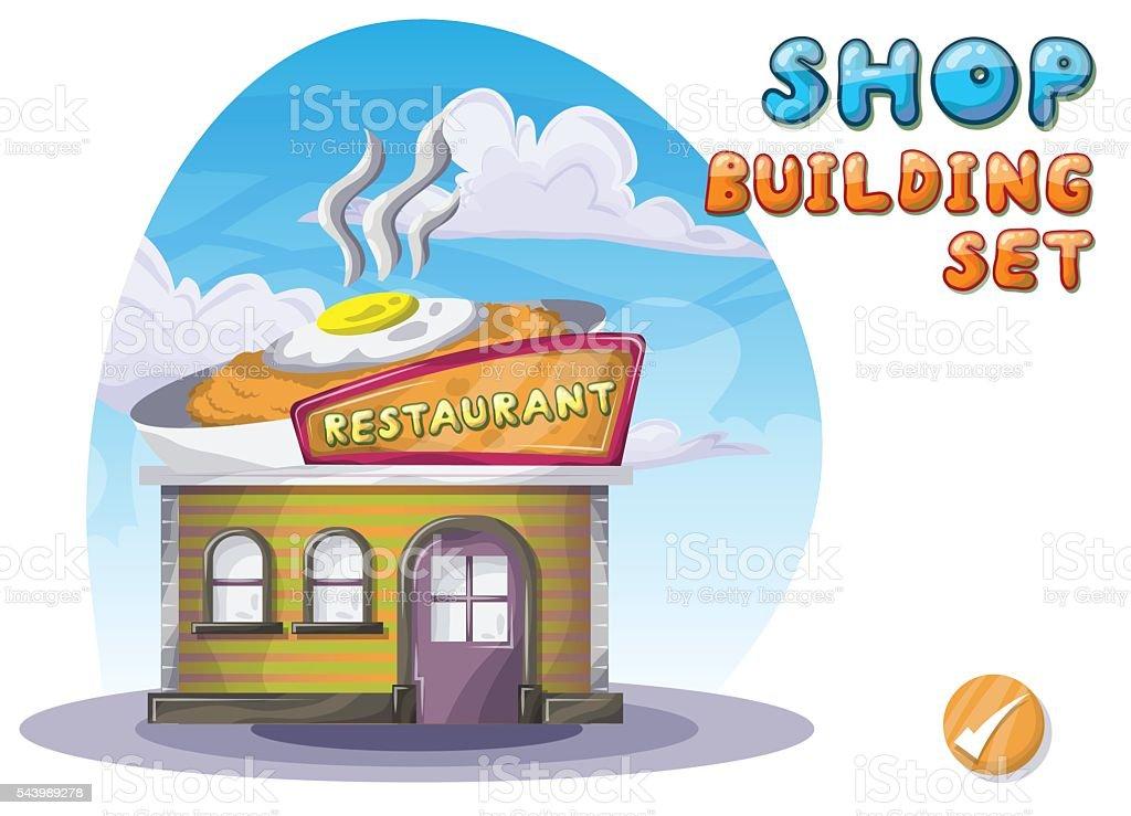 Ilustración De Dibujos Animados Vector Del Restaurante