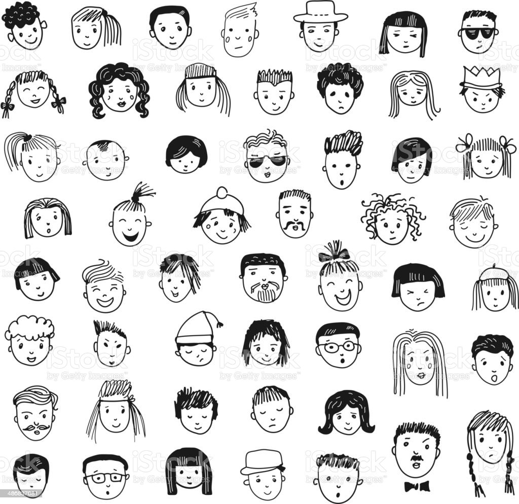 Cartoon vector set. 53 different funny faces. - 免版稅人圖庫向量圖形