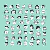 Cartoon vector set. 53 different funny faces.