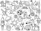 Set of cartoon vector doodle alien monsters and space props