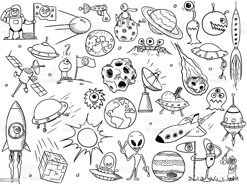 Cartoon Vector Set of Alien Space Elements vector art illustration