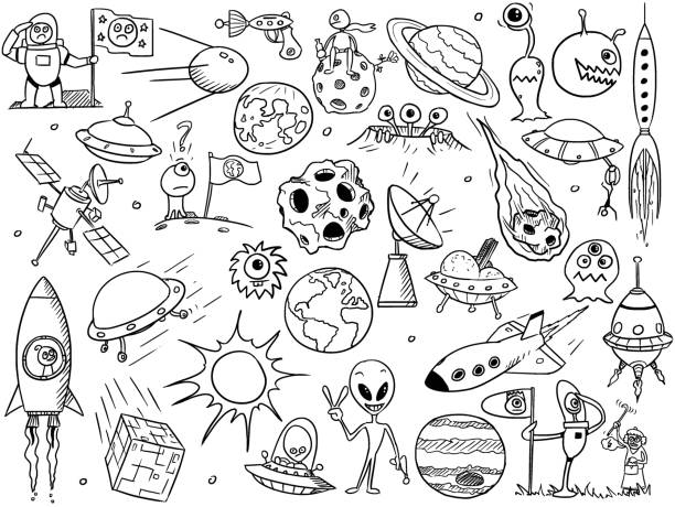 Cartoon Vector Set of Alien Space Elements vector art illustration