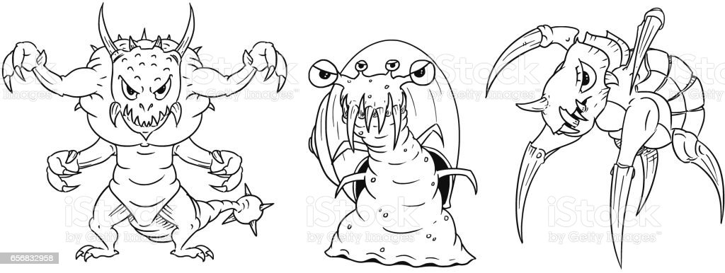 Cartoon Vector set of Dangerous Monsters - Lizard, Snail, Turtle vector art illustration
