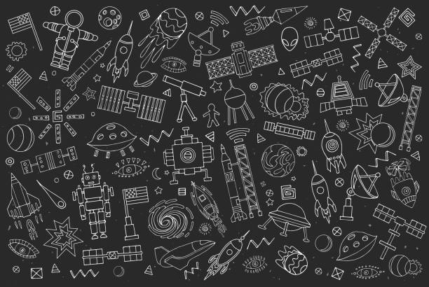 cartoon vector space - space exploration stock illustrations, clip art, cartoons, & icons