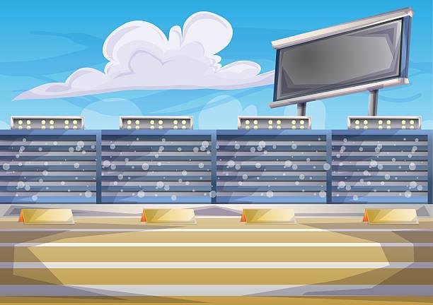 illustrations, cliparts, dessins animés et icônes de cartoon vector stadium background score board empty field - cage animal nuit