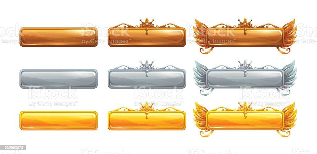 Cartoon vector title banners set for epic game - ilustração de arte em vetor