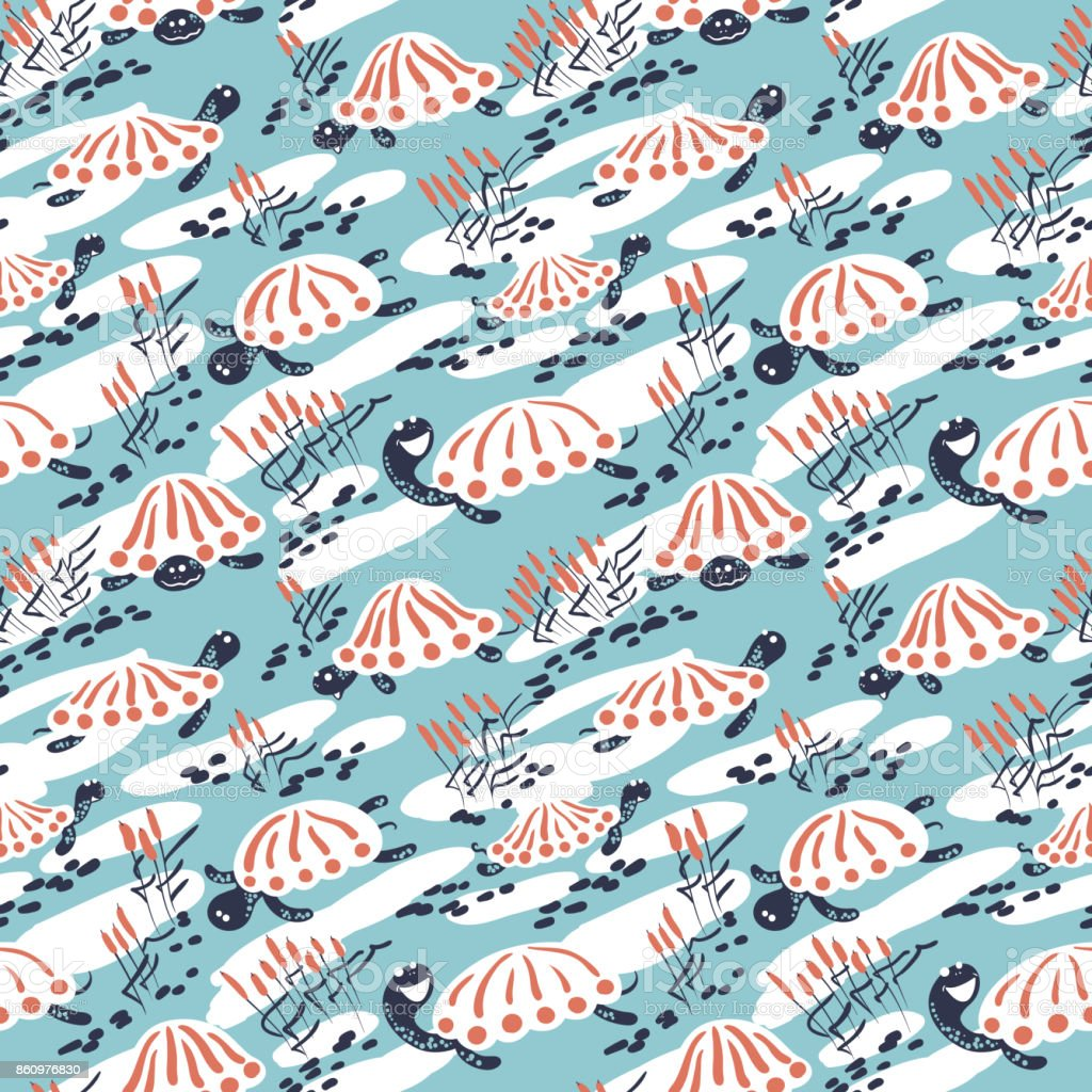 Cartoon vector turtles in the reeds seamless pattern vector art illustration