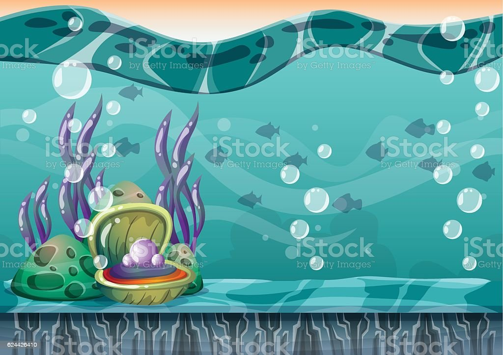 cartoon vector underwater background with separated layers for game art vector art illustration