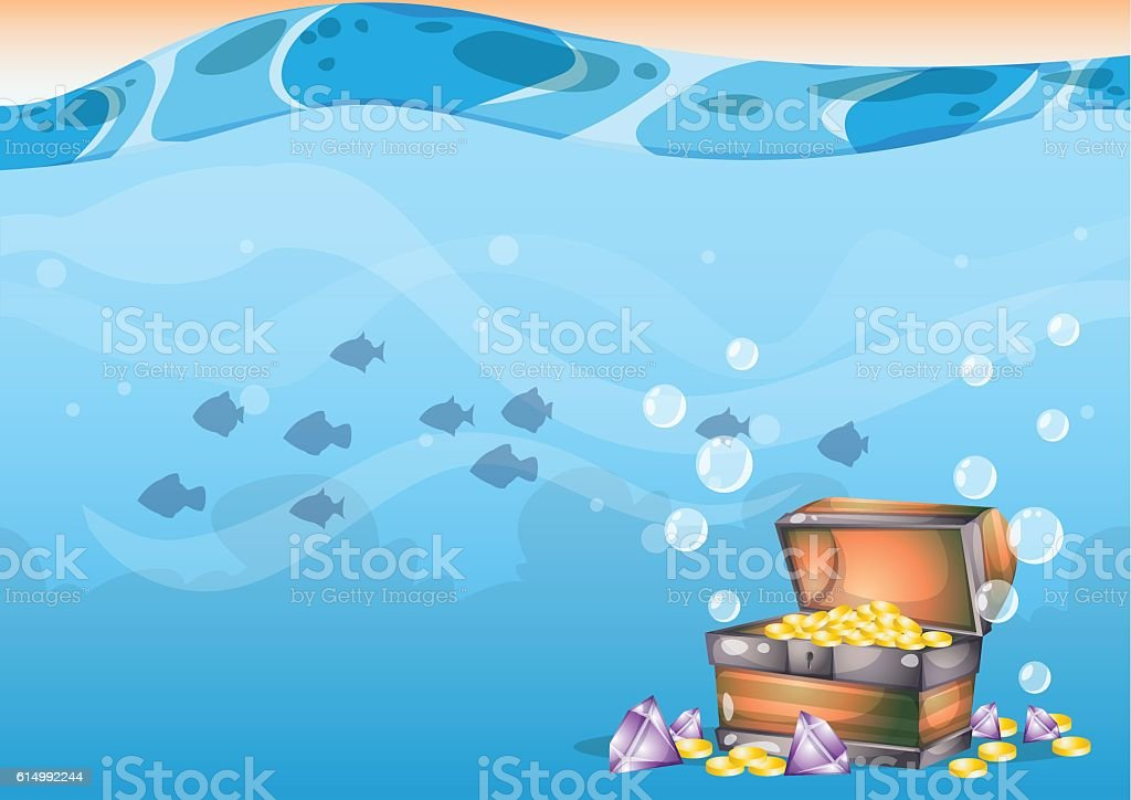 cartoon vector underwater treasure background with separated layers vector art illustration
