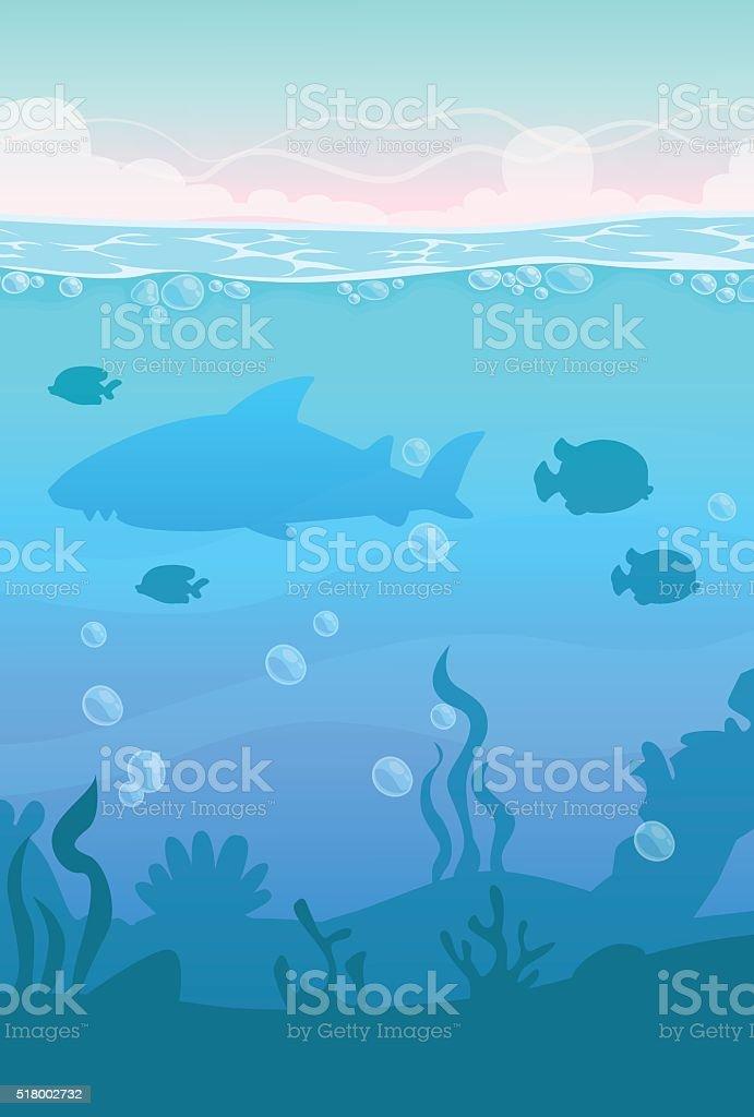 Cartoon vector vertical underwater landscape vector art illustration