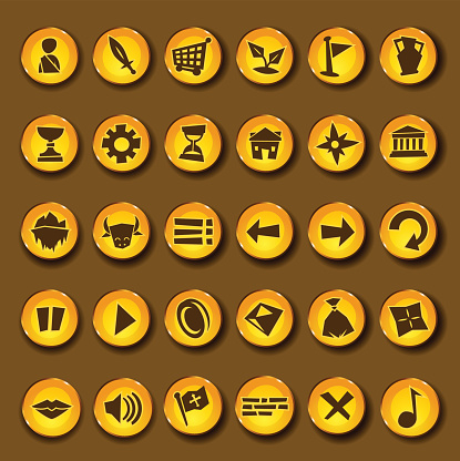 Cartoon vector video game icon set in greek style.