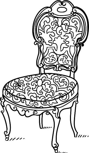 cartoon vektor vintage stuhl - stuhllehnen stock-grafiken, -clipart, -cartoons und -symbole