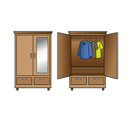 Cartoon vector wardrobe for kids This is a vector illustration for preschool and home training for parents and teachers.
