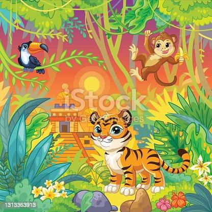 Cartoon vector wildlife animals landscape stock illustration