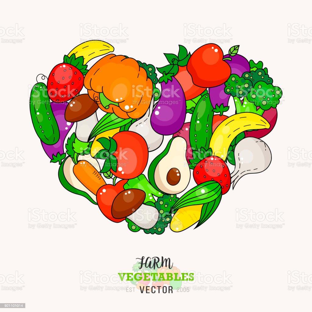Ilustración de Dibujos Animados De Frutas Y Verduras Cubierta De ...