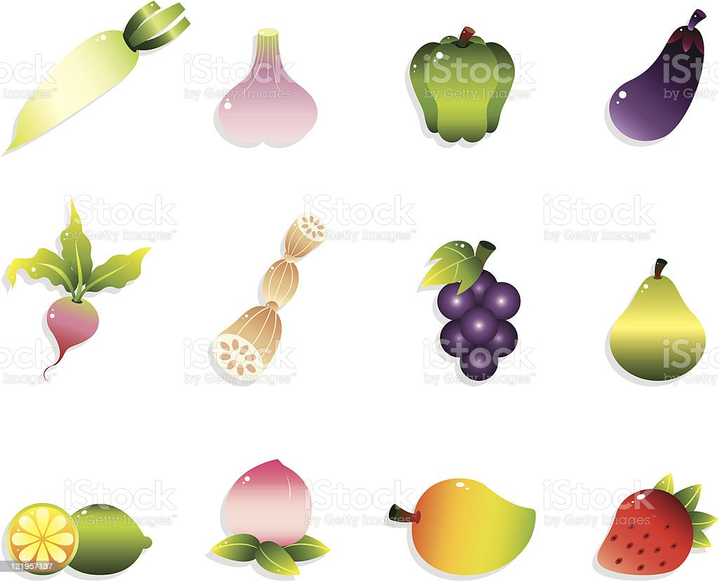 cartoon vegetable and fruit icons set royalty-free cartoon vegetable and fruit icons set stock vector art & more images of agriculture
