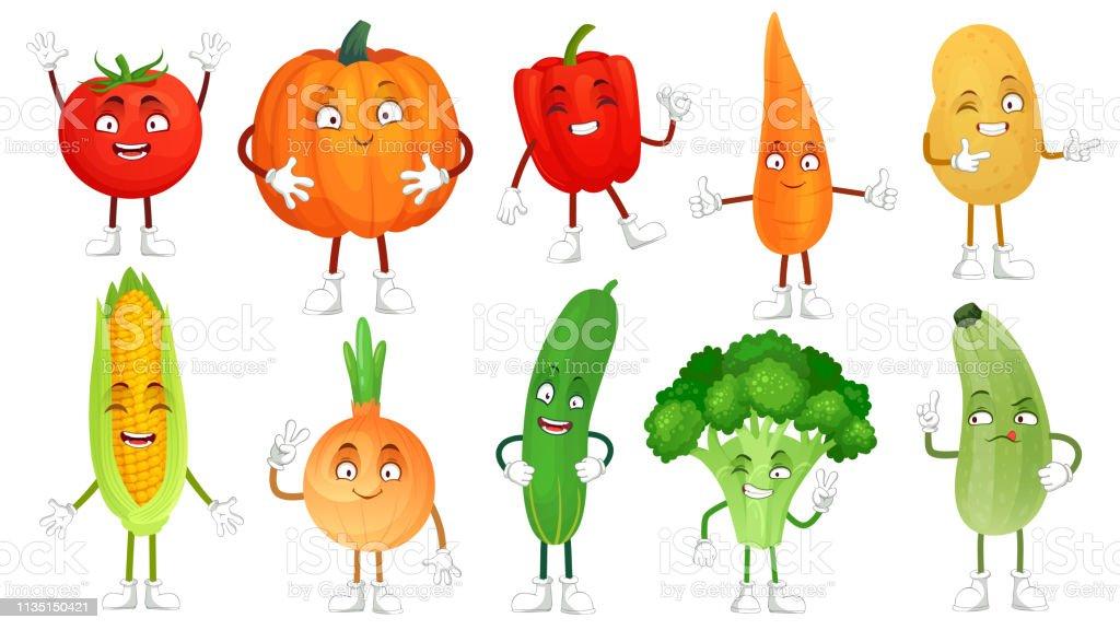 Ilustración De Carácter Vegetal De Dibujos Animados Verduras