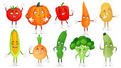 Cartoon vegetable character. Healthy veggies food mascot, baby carrot and funny cucumber. Vegetables, vegetarian comic emotions or vegan mascot. Isolated vector illustration icons set