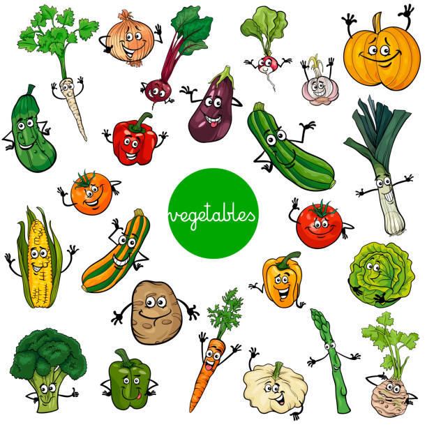 cartoon vegetables characters collection Cartoon Illustration of Vegetables Comic Food Characters Big Set squash vegetable stock illustrations