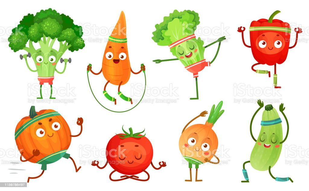 Cartoon vegetables fitness. Vegetable characters workout, healthy...