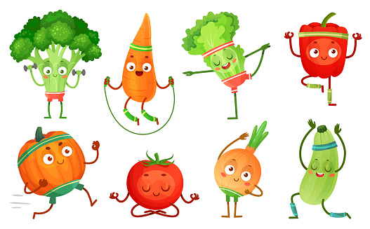 Cartoon vegetables fitness. Vegetable characters workout, healthy yoga exercises food and sport vegetables vector illustration set