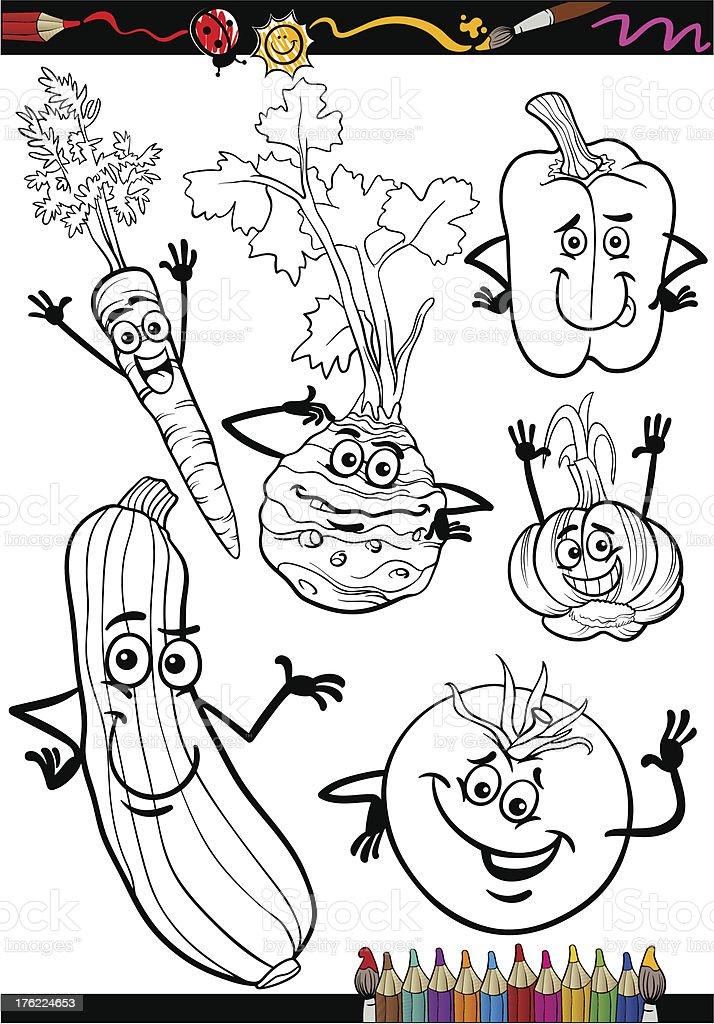 Ilustración de Hortalizas De Dibujos Animados De Libro Para Colorear ...