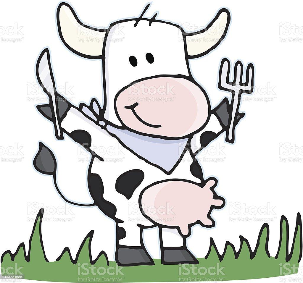 cartoon vegetarian cow with cutlery on a meadow stock vector art