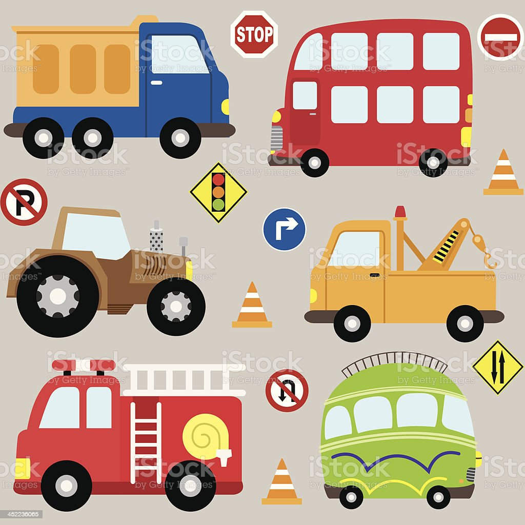 Cartoon vehicles transport set stock vector art more for Abc motor credit gilchrist rd