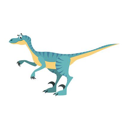 Cartoon velociraptor. Flat simple style carnivore dinosaur. Jurassic world predator animal. Vector illustration for kid education or party design elements. Isolated on white background.