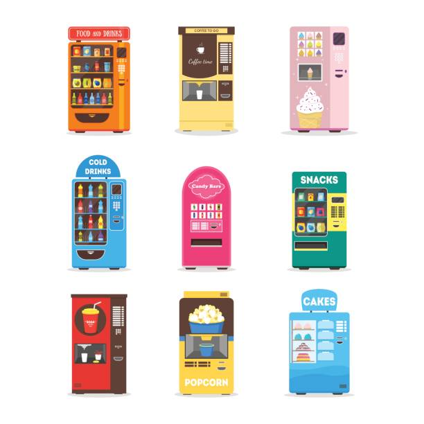 cartoon vending machine set. vector - empty vending machine stock illustrations