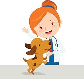 Vector illustration of a attractive lady veterinarian with a cute puppy.