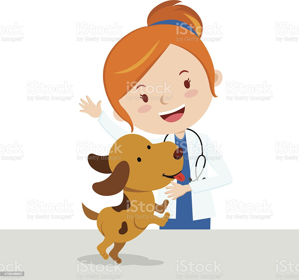 A cartoon vet looking after a brown dog vector art illustration