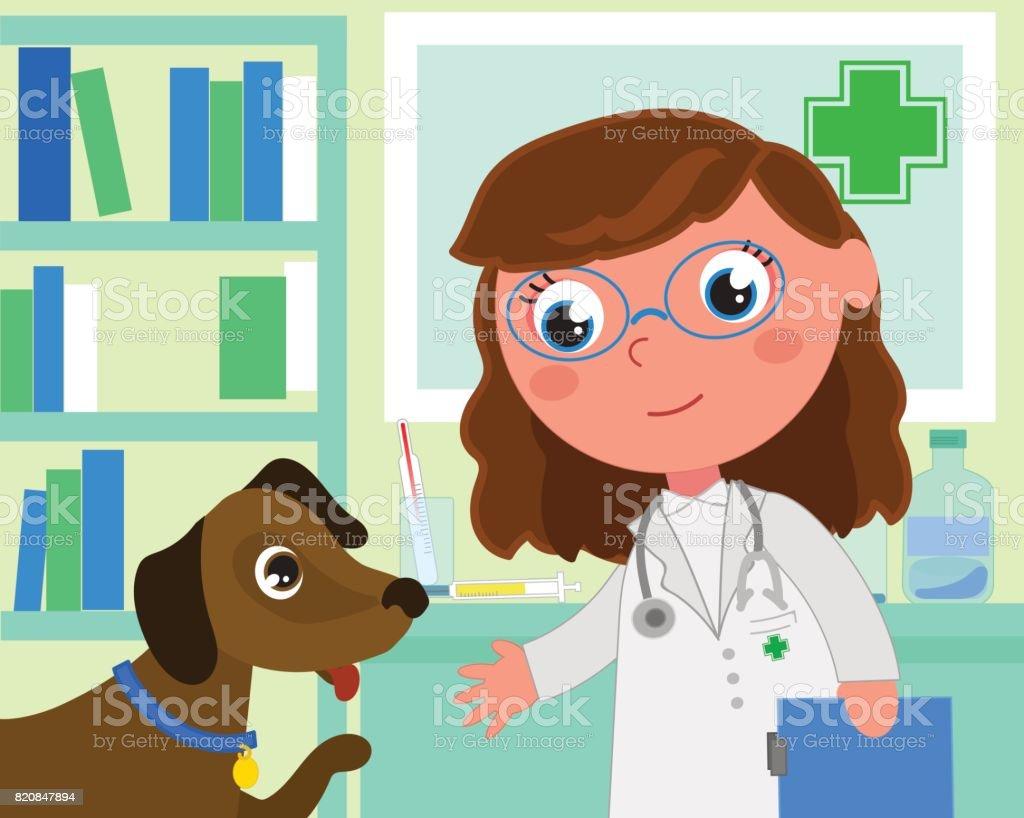 Cartoon-Tierarzt-Büro mit Hund – Vektorgrafik