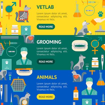 Cartoon Veterinary and Grooming Banner Horizontal Set . Vector