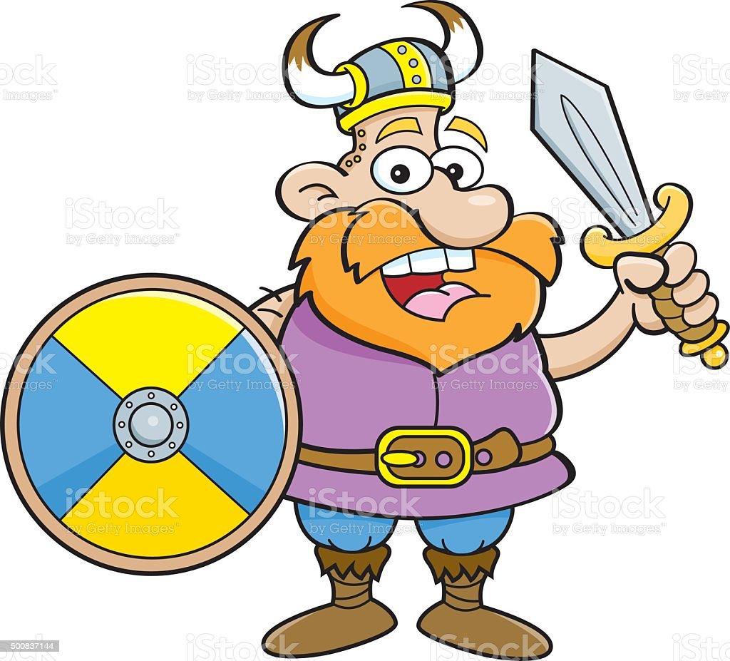 Cartoon Viking Holding A Shield Stok Vektor Sanati Adamlar Nin