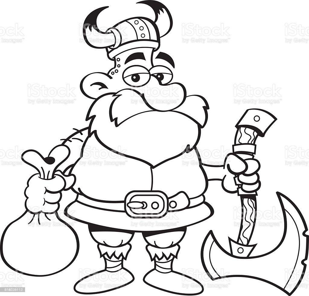 Cartoon Viking holding an axe.