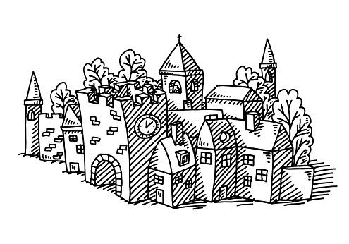 Dessin De Bâtiments Du Village De Dessin Vecteurs libres