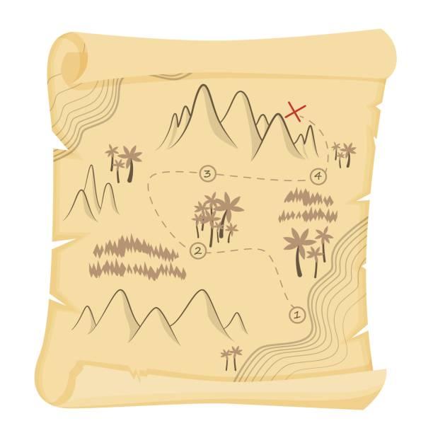 Cartoon vintage treasure map on papyrus vector graphic illustration