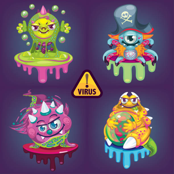 cartoon virus set - flu shot stock illustrations