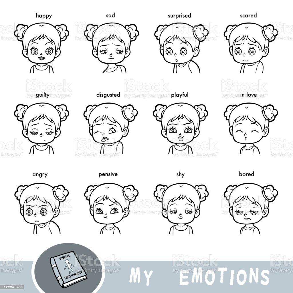 Cartoon Visual Dictionary For Children The Human Emotions Stock ...