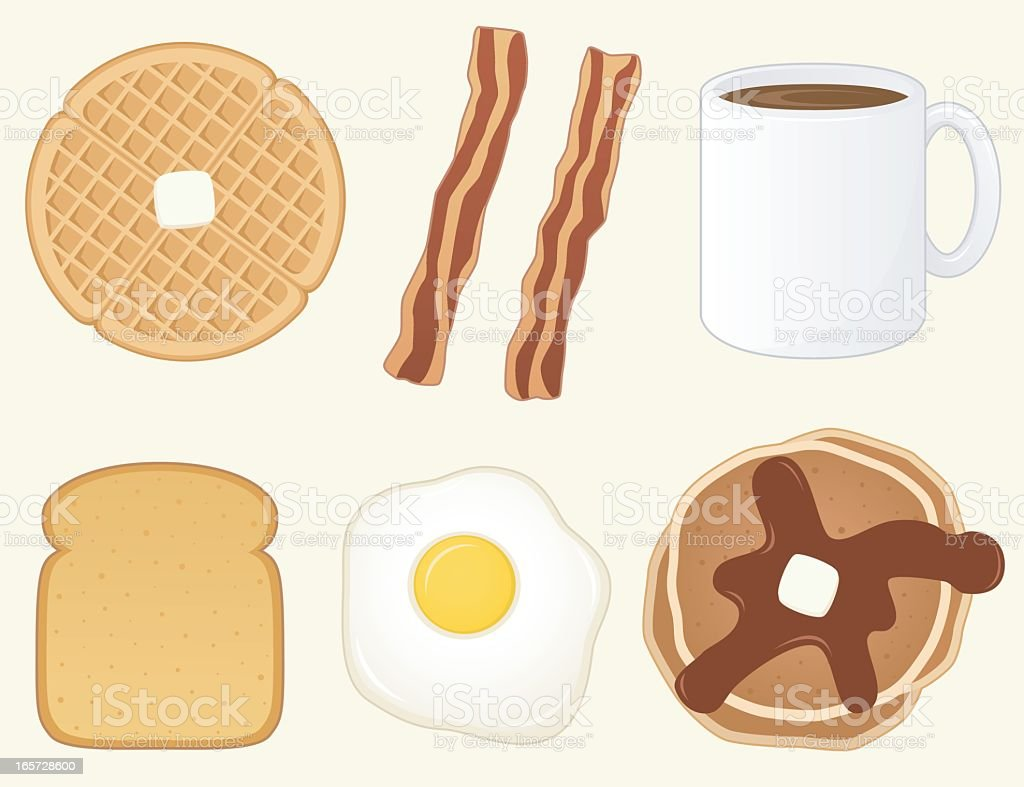 Cartoon waffle, bacon, coffee, toast, egg and pancake  vector art illustration