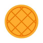 Vector Cartoon Waffle Icon Isolated On White Background
