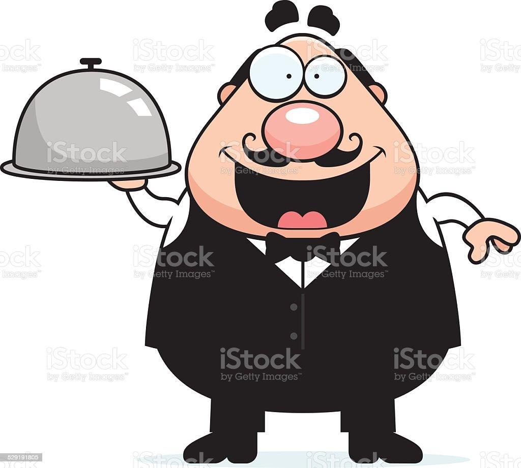 Cartoon Waiter Tray vector art illustration