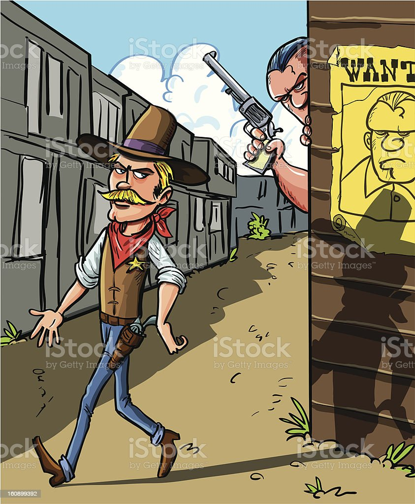 Cartoon Wanted poster for cowboy royalty-free stock vector art