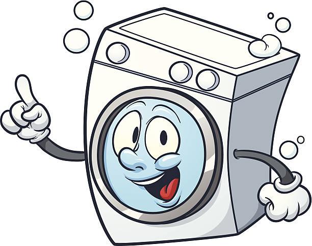 cartoon washing machine - washing machine stock illustrations, clip art, cartoons, & icons