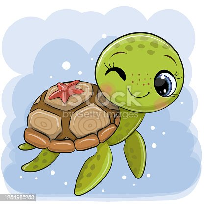 Cartoon water turtle on a blue background