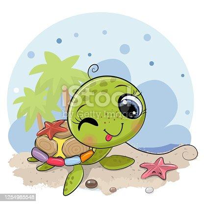 Cartoon water turtle on the beach